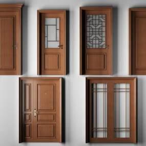 新中式实木平开门指母门推拉门厕所门房门3D模型【ID:330459179】