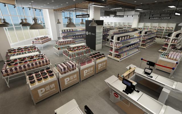 工業風免稅店跨境進口展銷中心3D模型【ID:145975124】