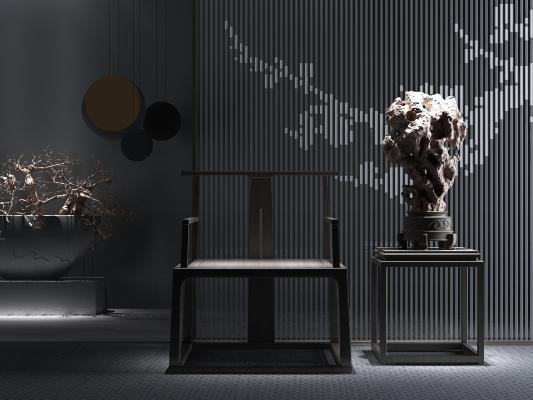 新中式椅子装饰品3D模型【ID:734057740】