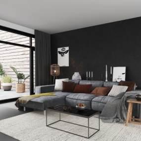 北欧L型沙发组合3D模型【ID:649170766】