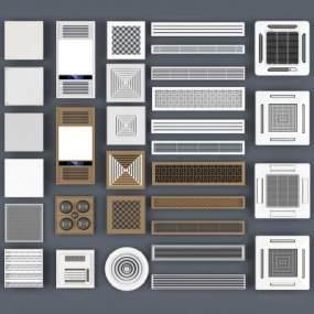 空调出风口,浴霸,通风口,空调百叶,空调,天花式空调,铝扣板,格栅灯,通风格栅3D模型【ID:330583372】