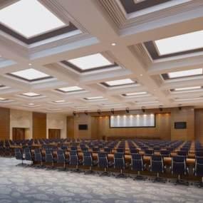 新中式大会议室3D模型【ID:953438129】