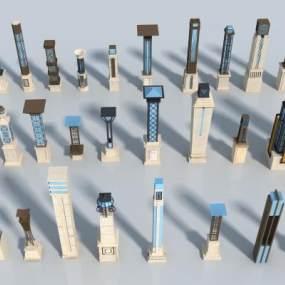 新中式灯柱3D模型【ID:153937404】