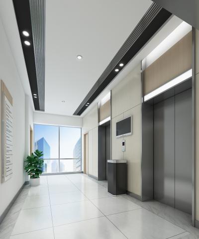 現代電梯廳3D模型【ID:945547566】