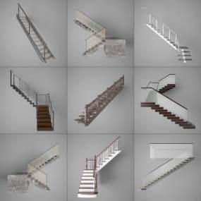 现代阁楼室内楼梯3D模型【ID:345424508】