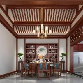 中式餐厅3D模型【ID:544696195】