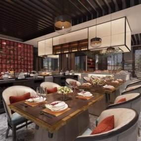 新中式酒店大堂餐廳吊燈餐具3D模型【ID:643745657】