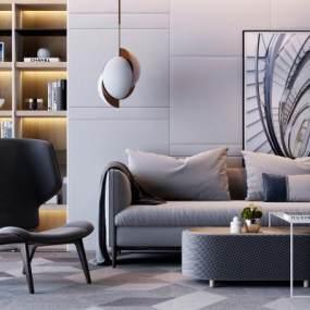 现代双人沙发休闲椅组合3D模型【ID:631819751】