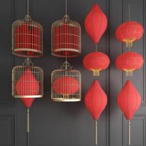新中式灯笼吊灯金属吊灯鸟笼吊灯组合 3D模型【ID:742300813】