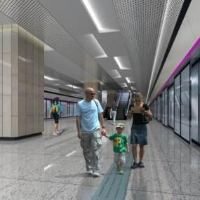 现代地铁站3D模型【ID:931352906】