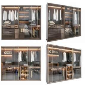 現代輕奢衣柜組合3D模型【ID:146894402】