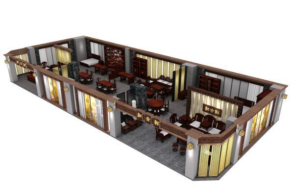 新中式南京紅木家具專賣店3D模型【ID:942045887】
