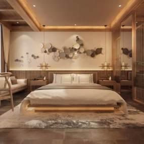 新中式民宿客房3D模型【ID:731203341】