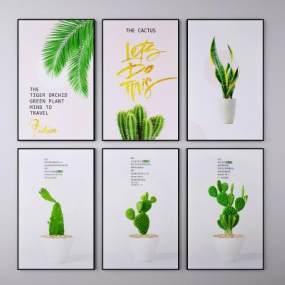 北歐植物掛畫裝飾畫3D模型【ID:249097919】
