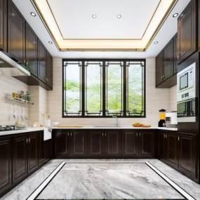 新中式廚房3D模型【ID:550855353】