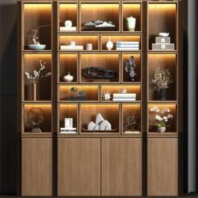 新中式實木裝飾柜子飾品組合3D模型【ID:146924137】