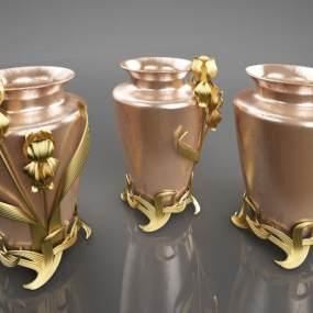 新中式花瓶艺术摆件3D模型【ID:234670533】