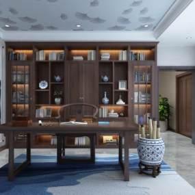 新中式书柜新中式书房3D模型【ID:532983488】
