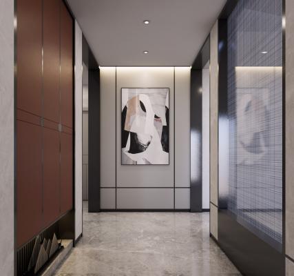 新中式售楼处酒店走廊SU模型【ID:953996480】