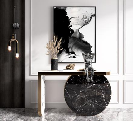 现代玄关 端景台 壁灯组合 壁灯 雕塑