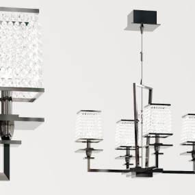 现代多头水晶吊灯3D模型【ID:733808871】