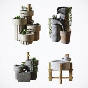 中式石磨水景園林藝術擺件3D模型【ID:252579530】