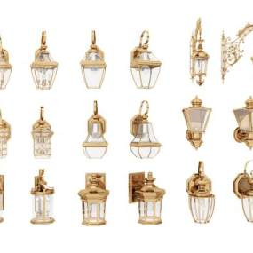 欧式古典壁灯3D模型【ID:745635948】