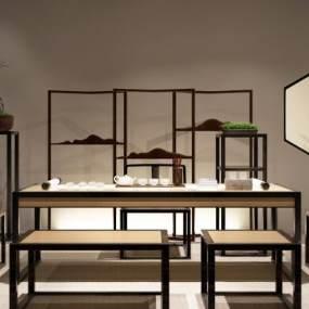 新中式茶桌椅茶室3D模型【ID:730753151】