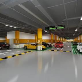 现代地下停车场3D模型【ID:953350906】