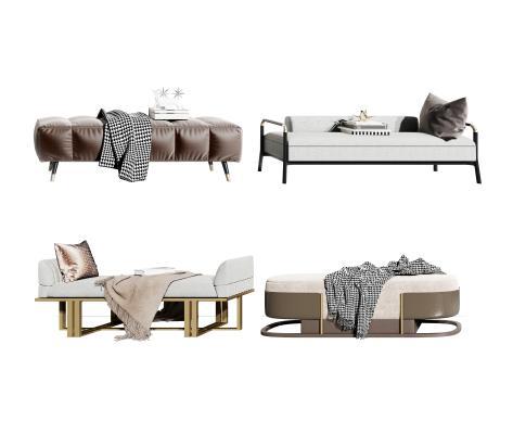 現代床尾凳3D模型【ID:745523675】