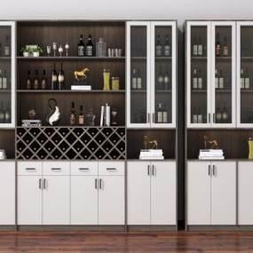 現代酒柜裝飾柜3D模型【ID:648461206】