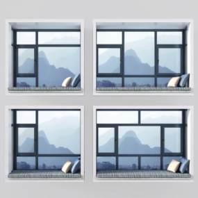 现代飘窗窗口窗户 3D模型【ID:335625246】