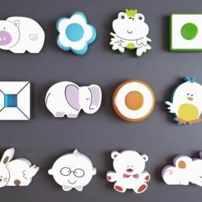 现代卡通儿童吸顶灯组合3D模型【ID:853080081】