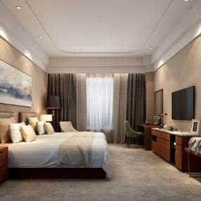 现代风格酒店标间3D模型【ID:747966371】