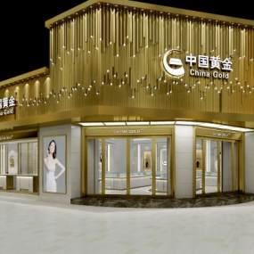 现代中国黄金门店3D模型【ID:933439864】