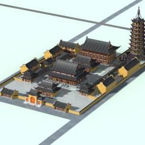 中式禅寺寺庙古建3D模型【ID:231790193】
