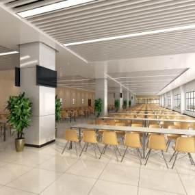 现代简约员工食堂3D模型【ID:633380211】