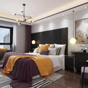 现代卧室3D模型【ID:535777258】