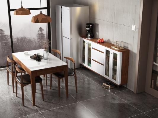 現代簡約玻璃餐邊柜3D模型【ID:153349828】