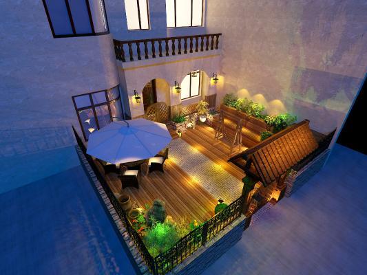 現代園林3D模型【ID:244043018】