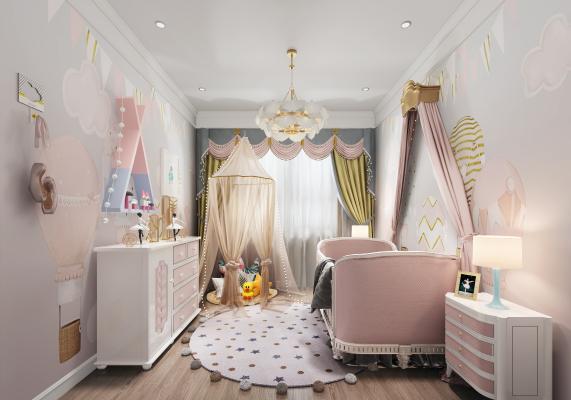 现代儿童房3D模型【ID:552812791】