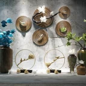 新中式花瓶装饰品花艺陈设品组合3D模型【ID:231353504】