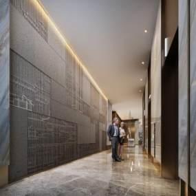 现代酒店电梯厅3D模型【ID:744828638】