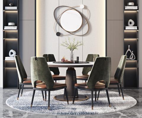 現代輕奢餐桌椅組合3D模型【ID:745548121】