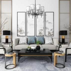 新中式沙发茶几吊灯地毯装饰画组合3D模型【ID:635855727】