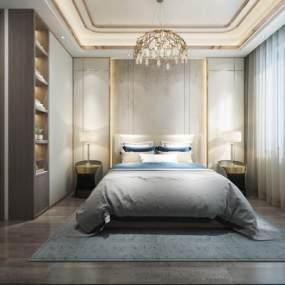 现代卧室3D模型【ID:553972271】