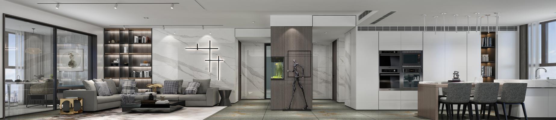现代大户型客厅3D模型【ID:552500013】