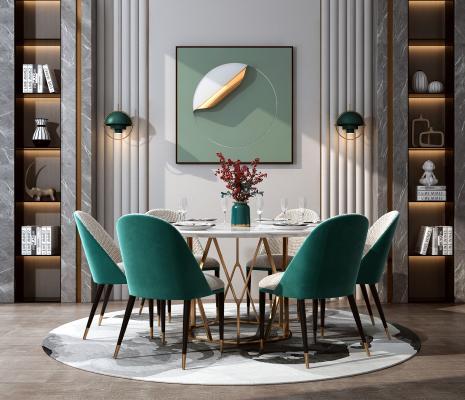 現代輕奢餐桌椅組合3D模型【ID:846686845】