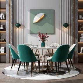 现代轻奢餐桌椅组合3D模型【ID:846686845】