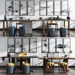 新中式实木泡茶桌椅书桌椅组合3D模型【ID:834850942】
